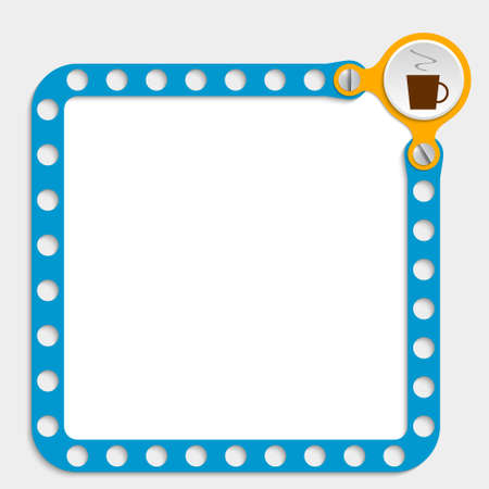 intermission: blue frame for any text with screws and cup of coffee