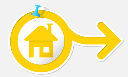 arrow home: Yellow arrow with white frame and symbol home Illustration