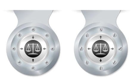 two vector objects with screws and law symbol