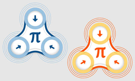 pi: Two vector objects and colored pi symbol Illustration