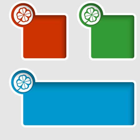 cloverleaf: set of three text boxes with cloverleaf