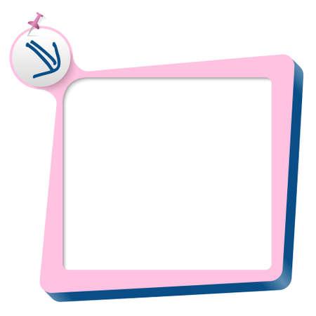 blue arrow: pink text box and blue arrow