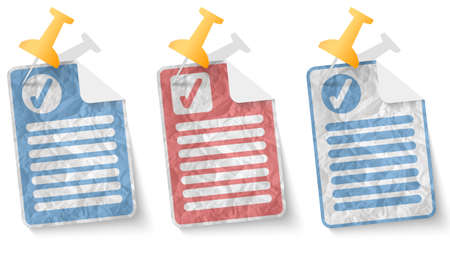 check box: document with crumpled paper and check box