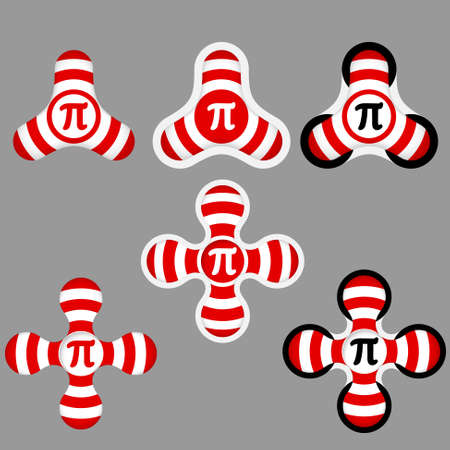 annular: abstract red and white icons and pi symbol Illustration