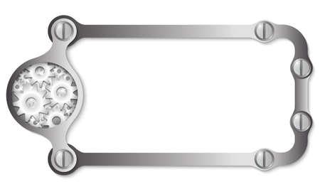 metal frame: vector metal frame with screws and cogwheels Illustration