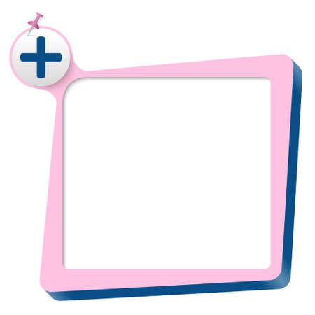 plus symbol: pink text box and blue plus symbol Illustration