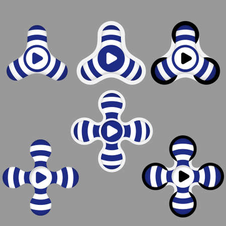 annular: abstract blue and white icons and play symbol Illustration