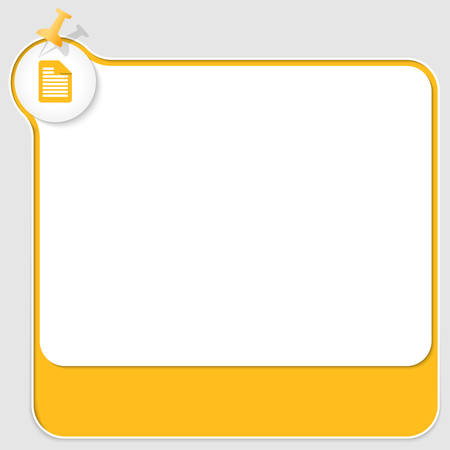 yellow pushpin: yellow text box with pushpin and document icon Illustration
