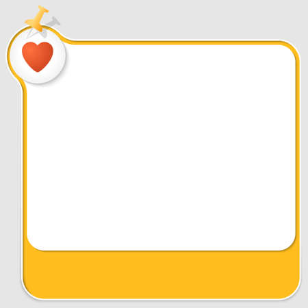 office romance: yellow text box with pushpin and red heart