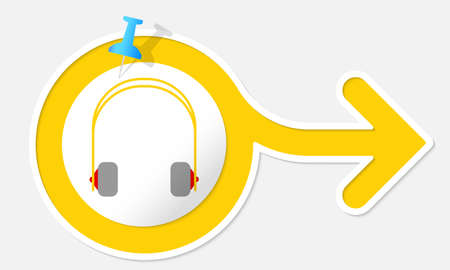 Yellow arrow with white frame and headphones Vector