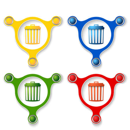 four objects: four abstract vector objects and a colored trashcan