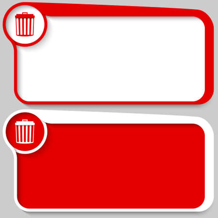 set of two vector text box and trashcan symbol Vector