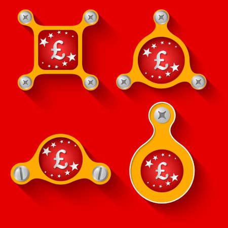 libra esterlina: objetos y tornillos amarillos abstractos y s�mbolo de la libra esterlina Vectores
