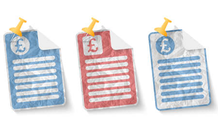 pound sterling: document with crumpled paper and pound sterling
