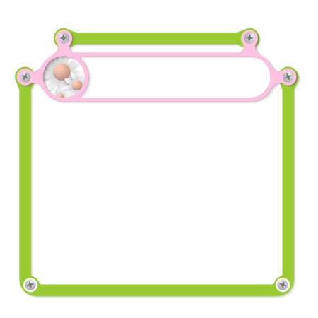 headline: green frame for text with screws and pink frame for headline
