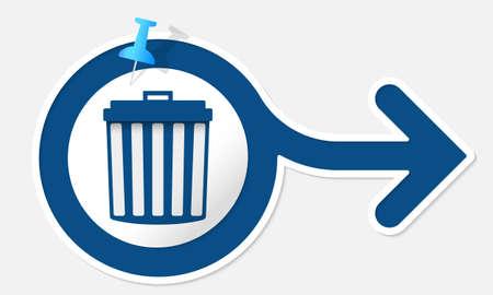 blue arrow: Blue arrow with white frame and trashcan