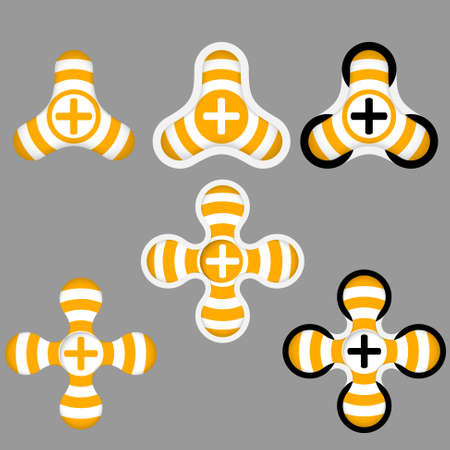 annular: abstract yellow and white icons and plus symbol