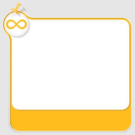 yellow pushpin: yellow text box with pushpin and infinity icon