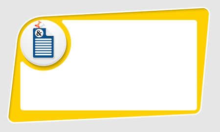 yellow pushpin: vector abstract yellow box and pushpin and ampersand