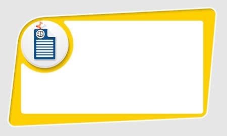 yellow pushpin: vector abstract yellow box and pushpin and law symbol