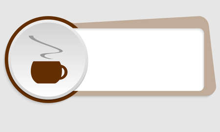 intermission: brown frame for your text and cup of coffee