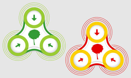 two objects: Two vector objects and colored tree symbol