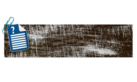 scratches: banner with scratches background and document and question mark Illustration