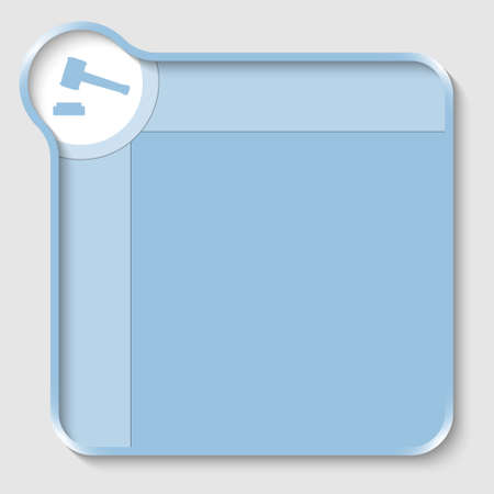 shadow box: blue text box for entering text and law symbol Illustration
