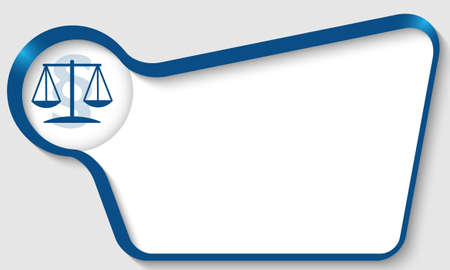 Blue box for your text and law symbol Illustration