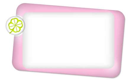 cloverleaf: Pink frame for entering text and cloverleaf Illustration