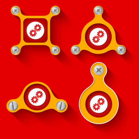 sprockets: abstract yellow objects and screws and cogwheels