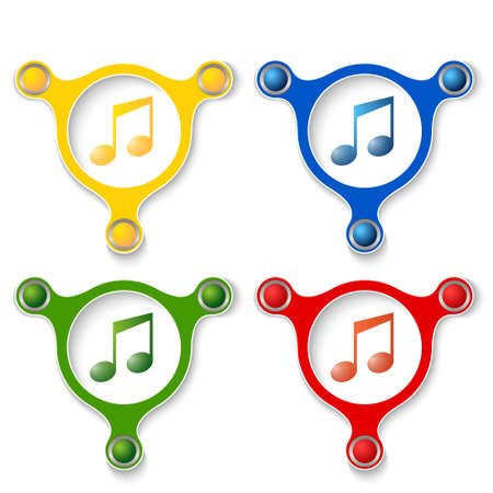 annular: four abstract vector objects and a colored music symbol