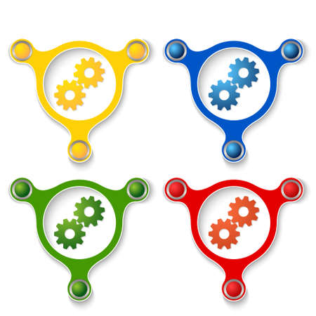 cogwheels: four abstract vector objects and a colored cogwheels