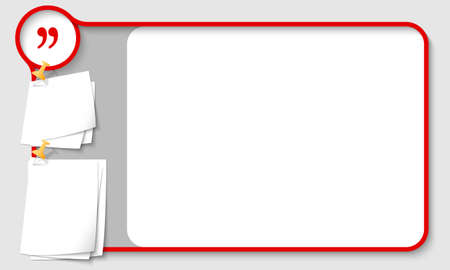 remark: Red abstract frame for your text with quotation mark and  papers for remark Illustration