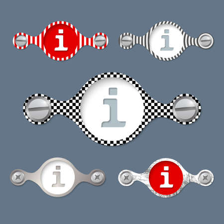 annular: five abstract vector objects and a colored info symbol Illustration
