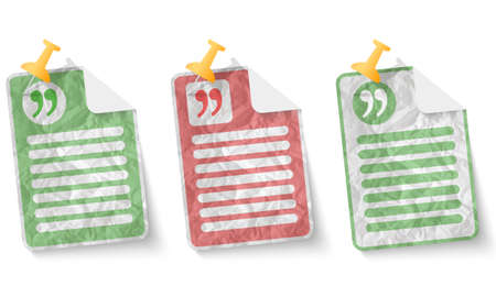 document with crumpled paper and quotation mark Illustration