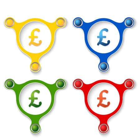 pound sterling: four abstract vector objects and a colored pound sterling symbol