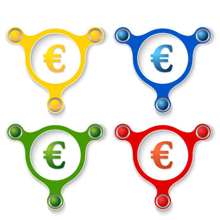 annular: four abstract vector objects and a colored euro symbol