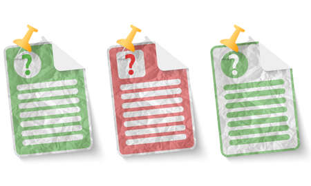 document with crumpled paper and question mark Vector