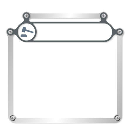 headline: Metal frame for text with screws and frame for headline Illustration