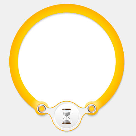 annular: Yellow circular frame for your text and sandglass