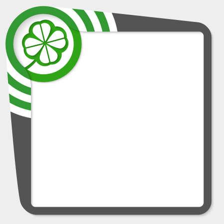cloverleaf: Dark box for your text and cloverleaf Illustration