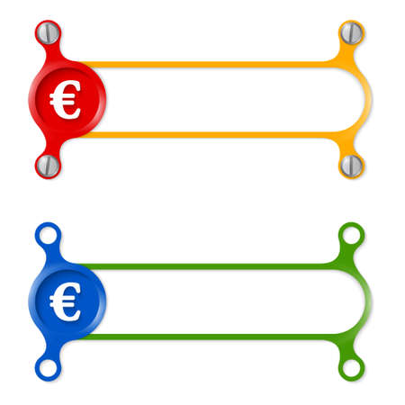 euro screw: vector abstract colored frame and euro symbol Illustration