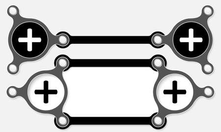 plus symbol: Two vector abstract boxes for your text and plus symbol