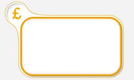 libra esterlina: marco amarillo para el texto y la libra esterlina s�mbolo