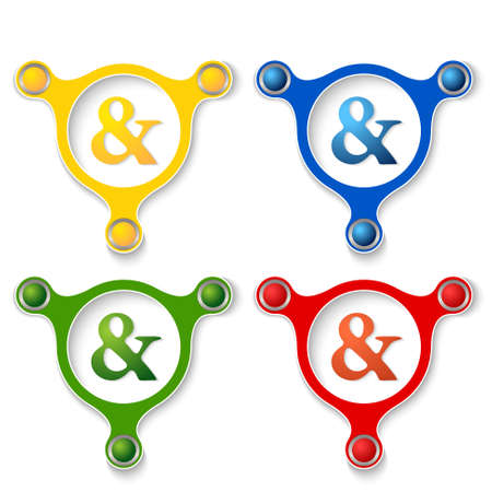 ampersand: four abstract vector objects and a colored ampersand