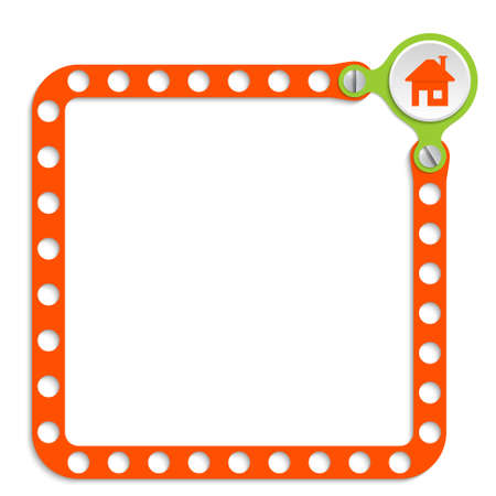 perforated sheet: Perforated frame for your text and home symbol Illustration