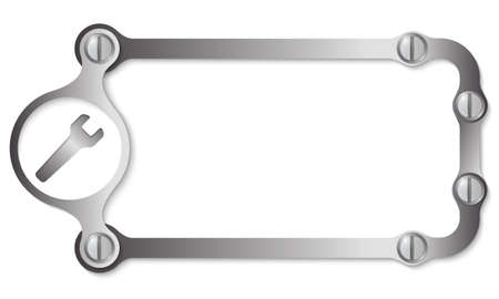 vector metal frame with screws and spanner