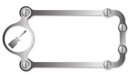 metal frame: vector metal frame with screws and screwdriver Illustration