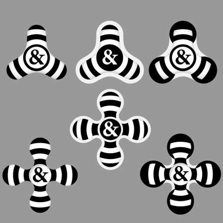 ampersand: abstract black and white icons and ampersand